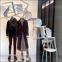 Burberry Winter Plaid Window Chair Cascade – Fixtures Close Up Sitting Area, Visual Merchandising, Benches, Wardrobe Rack, Burberry, Plaid, Windows, Winter, Furniture