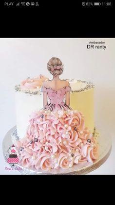 Cake Decorating Frosting, Creative Cake Decorating, Cake Decorating Designs, Birthday Cake Decorating, Cake Decorating Techniques, Barbie Doll Birthday Cake, Twin Birthday Cakes, Beautiful Birthday Cakes, Beautiful Cakes