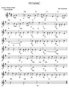 Partitura del Titanic Más Easy Sheet Music, Easy Piano Sheet Music, Saxophone Sheet Music, Violin Music, Cello, Music Chords, Recorder Music, Trumpet Sheet Music, Music Score