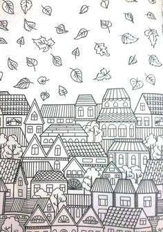 Adult coloring pages, house colouring pages, printable coloring pages, simp Adult Coloring Pages, House Colouring Pages, Fall Coloring Pages, Printable Coloring Pages, Coloring Sheets, Coloring Books, Doodles, Art Plastique, Doodle Art