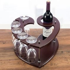 This eco-friendly heart-shaped wood wine caddy is perfect for displaying your wine bottle and glasses for Set the mood for your next date night. Wood Wine Racks, Wine Rack Wall, Wine Glass Holder, Wine Bottle Holders, Bottle Rack, Wood Wine Holder, Pallet Wine Rack Diy, Countertop Wine Rack, Wine Rack Design