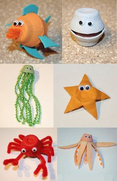Using egg cartons, you can make . Using egg cartons, you can do recycling jobs with these sea animals. Kids Crafts, Sea Crafts, Summer Crafts, Toddler Crafts, Preschool Crafts, Arts And Crafts, Paper Crafts, Sea Animal Crafts, Recycled Art Projects