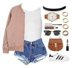 """""""#248"""" by parkerxoxo ❤ liked on Polyvore featuring Topshop, MAC Cosmetics, adidas Originals, Chloé, Nixon, Ray-Ban, Forever 21 and Anastasia Beverly Hills"""