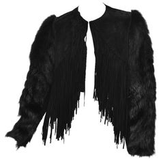 Preowned New Roberto Cavalli Black Fur & Leather Jacket ($3,595) ❤ liked on Polyvore featuring outerwear, jackets, fur, black, cropped leather jackets, long jacket, cropped fur jacket, fringe leather jacket and fringe jackets
