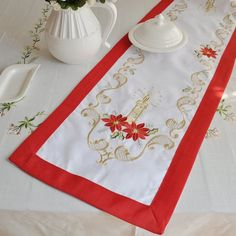 Christmas Decoration, Embroidery  Table RUNNERS,15X54 Inches, Free shipping $12.90