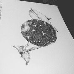 #inkmaster #illustration #ilustracion #illustratorsofinstagram #draw #drawing #dotwork #dots #puntillismo #galaxy #whale #blackandwhite #blackworknow #ink #iblackwork #pointillism #inkart