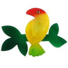 Marie Christine Pavone Hand Painted, Galalith - Multi Toucan Brooch Pin