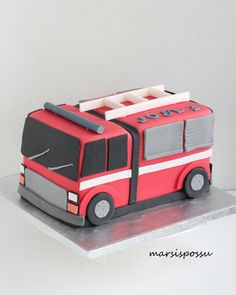 Fire Engine Cake, Truck Cakes, Fondant Cake Toppers, Cakes For Boys, Cake Tutorial, Party Cakes, Fire Trucks, 3rd Birthday, Art For Kids