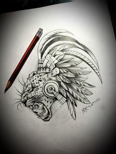 Jaguar Maya, Body Art Tattoos, Tattoo Drawings, Aztec Tattoos Sleeve, Aztec Drawing, Jaguar Tattoo, Cupid Tattoo, Zeus Tattoo, Western Tattoos