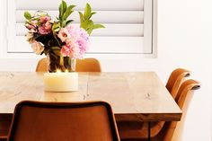 Dining room styling l Timber dining table l Leather and metal dining chairs