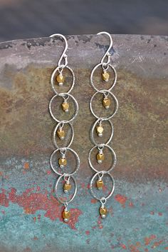 Delicate Sterling Silver and Gold Long Dangle Mixed by WendyGrace