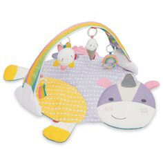 There are 4 ways to play with this adorable Unicorn Activity Gym from SKIP*HOP. With an arch hanging over a soft play mat that has endless fun for your baby with a baby-safe sun mirror, musical ice cream cone, rainbow rattle, and cloud teether. Skip Hop Unicornio, Baby Play, Baby Toys, Toddler Toys, Soft Play Mats, Unicorn Pillow, Activity Mat, Activity Centers, Play Gym