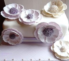 Lavender & Ivory Fantasy Flowers Gem Cake, Fondant, Step Cards, Flower Cookies, Card Making Tutorials, Celebration Cakes, Cupcake Cakes, Cupcakes, Party Planning