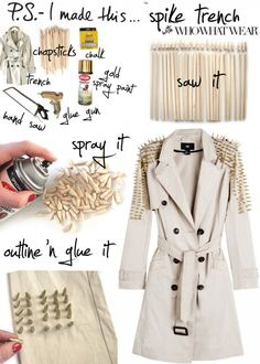 DIY Spike Trench - 27 Most #Popular #DIY #Fashion #Ideas Ever