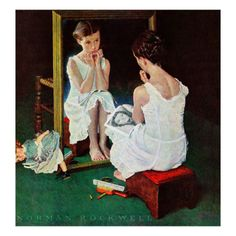"""""""Girl at the Mirror"""" by Norman Rockwell, 1954.... How relevant is this in today's society, young girls looking to the media for role models and then tragically destroying themselves physically and emotionally to try and """"fit in"""" with popular culture."""