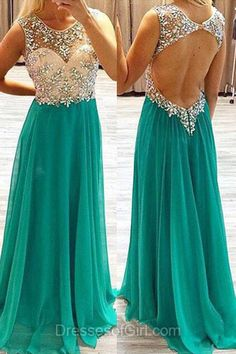 Open Back Prom Dresses, Green Prom Dress, Chiffon Evening Gowns, A-line Party Dresses, Beaded Formal Dresses