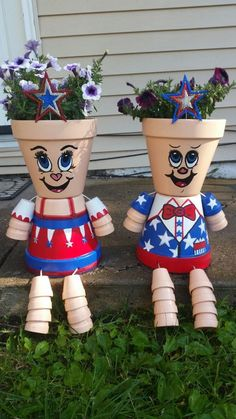 Patriotic clay pot people I made for my dad
