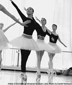 Artists of the Ballet in rehearsal for Swan Lake