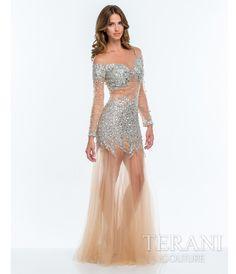 Terani Nude Glamorous Embellished Illusion #Prom Gown #uniqueprom