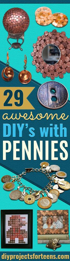 Cool DIYs Made With Pennies and Coins - Penny Walls, Floors, DIY Penny Table. Art With Pennies, Walls and Furniture Make With Money and Coins. Cool, Creative Tutorials, Home Decor and DIY Projects Made With Old Pennies - Cool DIY Projects and Crafts for Teens http://diyprojectsforteens.com/diy-ideas-pennies