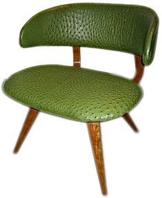 1950s ostrich green leather chair, from Thirteen Upholstery Workshop at Alfies Antique Market