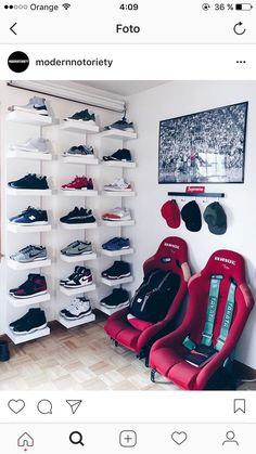 The shoe wall is a need for my room. Shoe Room, Shoe Wall, Room Closet, Sneaker Storage, Shoe Storage, Deco Gamer, Hypebeast Room, Shoe Holders, Game Room Design