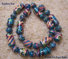 New Listing  Paper Beads Rainbow Star by PassionForPaperBeads on Etsy