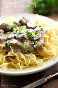 Slow Cooker Beef Stroganoff from chef-in-training.com …This recipe is delicious and couldn't be easier! Cooks all day with minimal prep work! (Use gluten free noodles or rice to make it GF)
