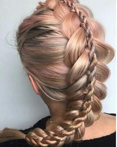 "Rose Gold ""Double Braid"" + Pony ... By @hairbyjoel #behindthechair #rosegoldhair #dutchbraid #ropebraid #braids #braidsfordays"