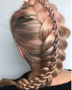"Rose Gold ""Double Braid"" + Pony ... By @hairbyjoel #behindthechair #rosegoldhair #dutchbraid #ropebraid #braids #braidsfordays"
