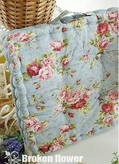 Details about Floral Thick Blue Quilted Chair Seat Pad/Mat cushion Country Cottage Shabby Chic Cottage Shabby Chic, Shabby Chic Dining Room, Shabby Chic Interiors, Chic Living Room, Shabby Chic Bedrooms, Shabby Chic Kitchen, Shabby Chic Homes, Shabby Chic Style, Shabby Chic Decor
