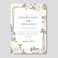 Wedding Invitation Card Template Set With Beautiful Floral Leaves Premium Vector Wedding Stationery Sets, Wedding Logos, Beautiful Wedding Invitations, Wedding Cards, Wedding Invitation Card Template, Flower Invitation, Save The Date Invitations, Invitation Set, Happy Mother's Day Card