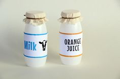 Play kitchen milk & juice bottles - via http://exexp.at