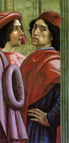 Self-portrait from Saint Francis Restoring a Child to Life (detail), Domenico Ghirlandaio (Italian, Italian Renaissance, Renaissance Art, Renaissance Portraits, Classic Paintings, Italian Artist, Art For Art Sake, Art And Architecture, Fresco, Art History