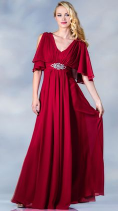 Red Butterfly Sleeves Modest Evening Gowns - Discountdressup Store