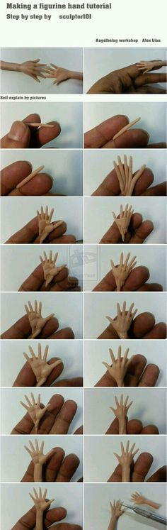 It took me a while to make this simple tutorial of how to make figurine hand. Wish I have an extra hand to take pictures. It is pretty much self explain of step by step in the picture comparison. (the biscuit) Hands Tutorial, Doll Tutorial, Sculpting Tutorials, Clay Tutorials, Polymer Clay Dolls, Polymer Clay Crafts, Clay Clay, Polymer Clay People, Fondant Figures