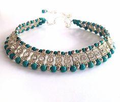 Turquoise necklace with rhinestones  bridal by BijouxDesignsStudio, $128.00