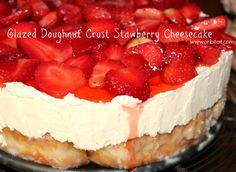 ~Glazed Doughnut Crust Strawberry Cheesecake!