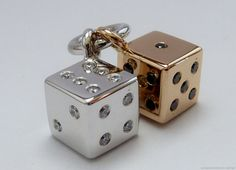 18 carat rose and white gold diamond dice by MonumentsToCulture