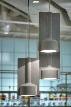 Massive concrete lamps developed by Katerina Sokolova.for Tartufo trattoria (Lviv, Ukraine) Concrete Light, Concrete Wood, Concrete Design, Concrete Interiors, Concrete Furniture, Plywood Furniture, Beton Design, Luminaire Design, Light Fittings