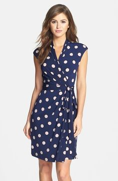 $118, Navy Polka Dot Casual Dress: Eliza J Polka Dot Jersey Faux Wrap Dress. Sold by Nordstrom. Click for more info: https://lookastic.com/women/shop_items/262680/redirect