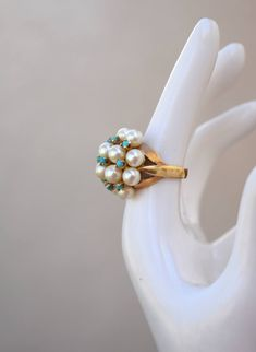 14K Gold, 12 Real Pearls and 9 Turquoise Bits Ring Vintage Gold Pearl Ring, 14k Gold Ring, Pearl Rings, Vintage Rings, Vintage Jewelry, Charles And Colvard Moissanite, Real Pearls, Bridal Rings, Diamond Wedding Bands