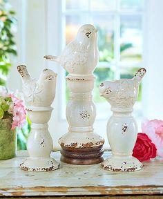 Ceramic Bird Finials Figurines Statues Distressed Crackled Antiqued Home Decor