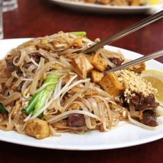 """Put Thailand on your list for best for food, especially the Pad Thai! 🍜 Check out the final installment of my """"A Girl's Gotta Eat"""" Asia series filled with Thai recipes. Pad Thai Pairs Well With: Riesling or Pinot Gris Healthy Soup Recipes, Thai Recipes, Easy Dinner Recipes, Eat Healthy, Healthy Weight, Smoothie Recipes, Healthy Cereal, Lentil Recipes, Breakfast Healthy"""