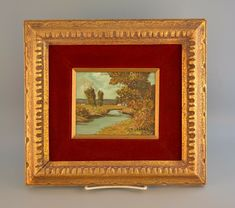 This oil appears to be by the same S Gruber. The subject matter is very similar w/ white building & red roof in background. Frame sticker is the same w/ different numbers & style. Framed Vintage Miniature Landscape Oil Painting on Wood - S. Gruber | eBay Oil Paint On Wood, Painting On Wood, White Building, Red Roof, Vintage Art Prints, Small Houses, Miniatures, Japan, Landscape