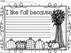 Fall Writing FREEBIE! .....Follow for free 'too-neat-not-to-keep' teaching tools & other fun stuff :)- repinned by @PediaStaff – Please Visit ht.ly/63sNtfor all our ped therapy, school & special ed pins