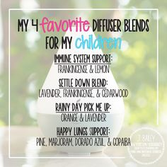 These are my four most used blends but the possibilities, even with only the Starter Kit oils, are endless.