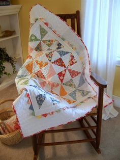 Made from one charm pack and some extra fabric for borders, binding and backing! Moda Bake Shop: Pinwheel Baby Quilt