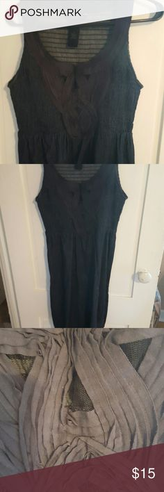 CalvinKlein Jean dress Love the details on this dress. Very slimming. Has a touch of lace that I just love. Light weight Jean material Calvin Klein Dresses