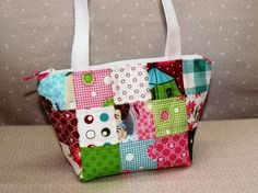 Cute Patchwork Handbag  Glamping by Mary by LynnpatriciaDesigns, $29.50